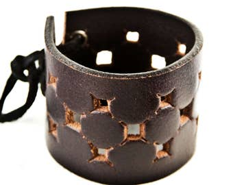 Upcycled Bracelet Dark Brown Leather Jewelry Reclaimed
