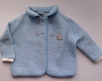 1970's   Baby Blue Jacket Coat with white Bunny motif   to fit chest up to 25 inches  Vintage.