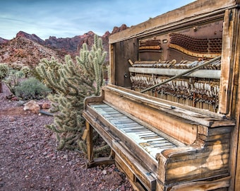 Piano Desert Photography Print Vintage Ghost Town Nevada Landscape Fine Art Photograph Wall Art Decor | Also Available on Canvas or Metal