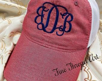 Ladies Chambray Trucker Monogram Hat