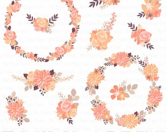 Rustic Floral Wreaths Clipart, Autumn Flowers, Rustic Wedding Flowers - Rustic Roses - 11 images, 300 dpi. Png files. Instant Download