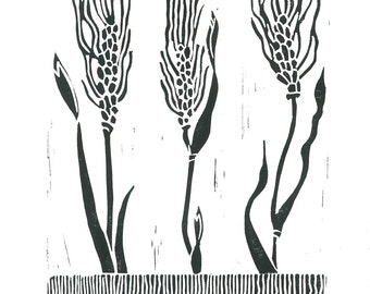 WHEAT GRASS LINOCUT -  Botanical Print - Black & White 8x10 Lino Print - Ready to Ship