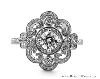 DUCHESS - Diamond Engagement Ring or Right Hand ring SEMI-MOUNT-14K white gold - Weddings- Luxury- Brides - art deco - BP0011