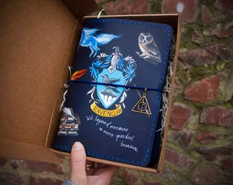 Harry Potter Gift - Ravenclaw Crest Art - Harry Potter Journal - Travelers Notebook - Ravenclaw Gift Hand Painted Leather A5 Size Journal