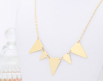 Gold Triangle Necklace Delicate Triangle Banner Necklace Everyday Gold Necklace Five Triangle pendant  Gold Filled Jewelry.