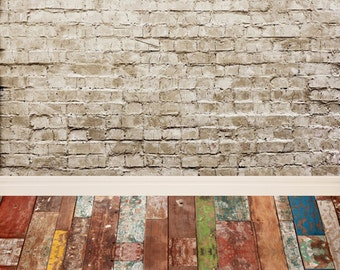 White Brick Wall with vintage wood Floor Drops, Vinyl Photography backdrop,Customized brick wall background for Children's PhotographyD-9694