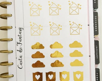 Stickers planner gold foil