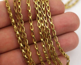 Vintage Brass Chain, 20 Meters - 16.5 Feet Vintage Raw Brass Chains (3x6mm) ( Z066 )