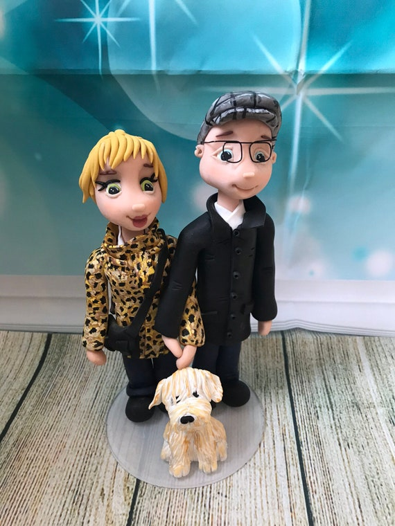 personalised Wedding Cake Topper bride and groom figures in normal clothes