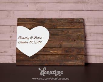 Rustic Wedding Guest Book Alternative - Custom Wood Guest Book Canvas