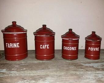 Set Of 4 Etoile Pen French Vintage Enamel Kitchen Jars, Storage, French Kitchen, Country Kitchen, French, Enamelware, Kitchen Storage,Decor
