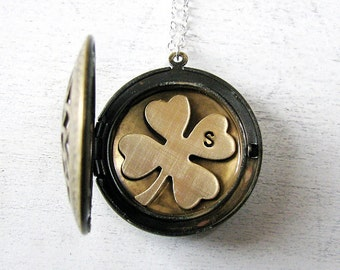 Graduation Gift, Gift for Mom Jewelry Grandma, Locket Necklace, Four Leaf Clover, Shamrock Jewelry, Irish Wedding, Personalized Jewelry