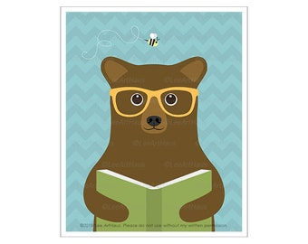 149A Bear Drawing - Brown Bear Reading Book Wall Art - Cabin Decor - Funny Animal Drawing - Classroom Wall Decor - Art for Library