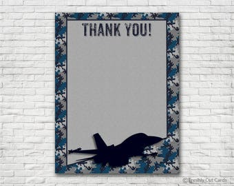Navy and Gray Camouflage Printable Thank You Card - Instant Download