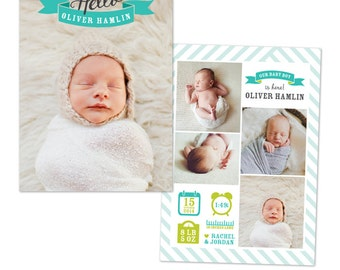 INSTANT DOWNLOAD - Photoshop Birth announcement template -  e1052