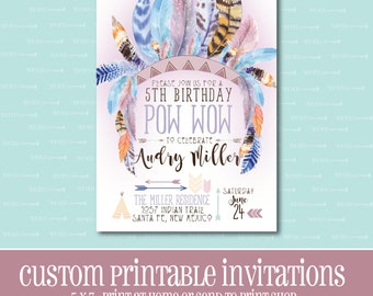 Tribal Birthday Invitation, Printable Invitation, BIRTHDAY PARTY INVITATION,Tribal,Digital,Customizable,Birthday,Birthday Party,Indian,Boho