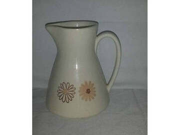 AtomicCreamer, Creamer, Pitcher, Atomic, Retro, Flowers, Neutral Pitcher, Creamer Pitcher, Pottery Vase, Stoneware Creamer