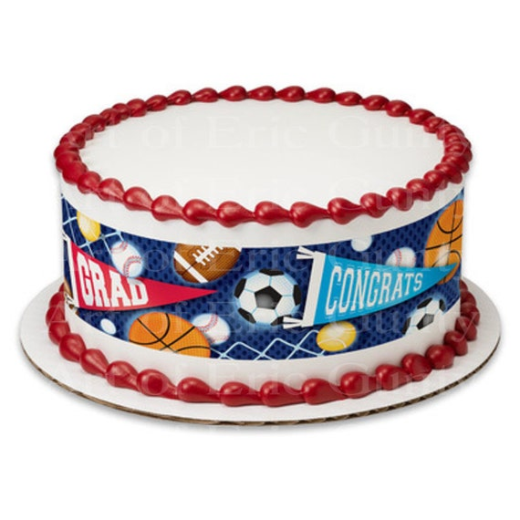 Sports Grad Graduation - Designer Strips - Edible Cake Side Toppers- Decorate The Sides of Your Cake! - D22038