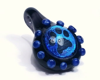 Bright Blue Dichroic Paw Print Pendant