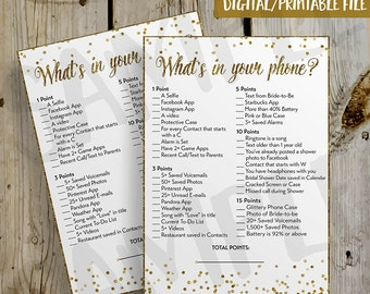 PRINTABLE Gold Glitter Confetti What's In Your Phone Bridal Shower Game - DIY Instant Download What's in your Cell Phone Game Digital File