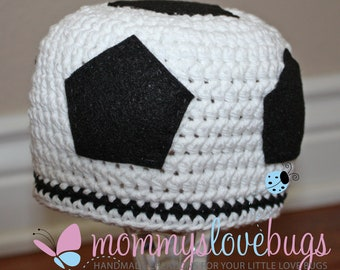 Score Soccer Boys Crochet Beanie with removable Flower Hair Clip - Newborn through 4T Sizes Available