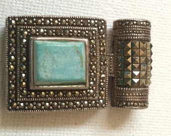 Vintage Marcasite and Turquoise Slide Pendant