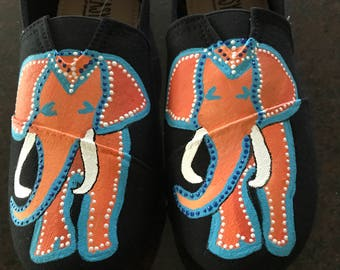 Painted Canvas Shoes: Indian Elephants