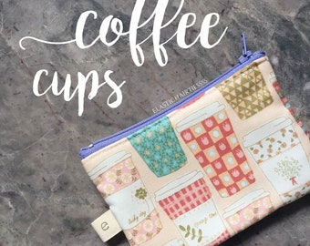 Floral Coffee Cups Pencil Case/ Zippered Pouch