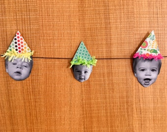 Happy Baby Party Hat Bunting | Birthday Decor | Garland