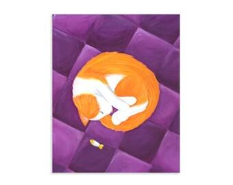 Sleepy Kitty - Colorful Orange Cat Painting Print - Whimsical Kitten Art