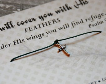 Prayer Bracelet, Prayer Jewelry, Cross Bracelet, Christian Jewelry Psalm 91 Prayer Bracelet, Psalm 91:4, Feather Jewelry, Christian Jewelry