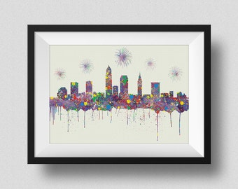 Cleveland Skyline Watercolor Print, Cleveland Ohio Skyline with Firework Ink Splash Poster Art, Cleveland Skyline Watercolor Print