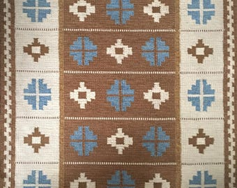Vintage Scandinavian Swedish woollen flatweave rug or rya signed ES for Ellen Stahlbrand