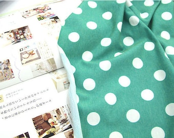 """Polka Dots French Terry Sweatshirt Knit - Green - 55"""" Wide - By the Yard 57801"""