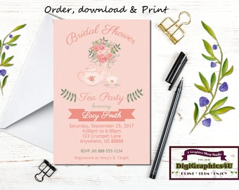 Peach Floral Bridal or Wedding Shower, Tea Party Luncheon Invitation - Printable File - Customized for You