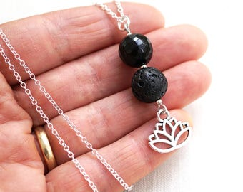 Mothers Day Gift Essential Oil Diffuser Necklace Gardening Gift Lotus Flower Necklace Black Lava Aromatherapy Necklace Sterling Silver Yoga