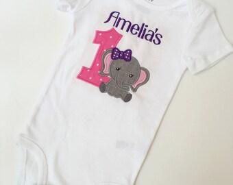 Elephant 1st Birthday Onesie, Elephant Birthday, Girl Birthday Onesie, Birthday Onesie, Elephant Onesie, Girl First Birthday, Girl Elephant