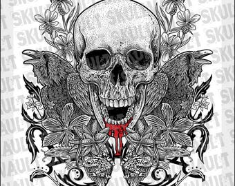 Skull with Critters - B&W + Red