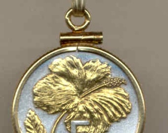Necklace - Gorgeous 2-Toned Gold on Silver Cook Is. Hibiscus  Coin -Necklace