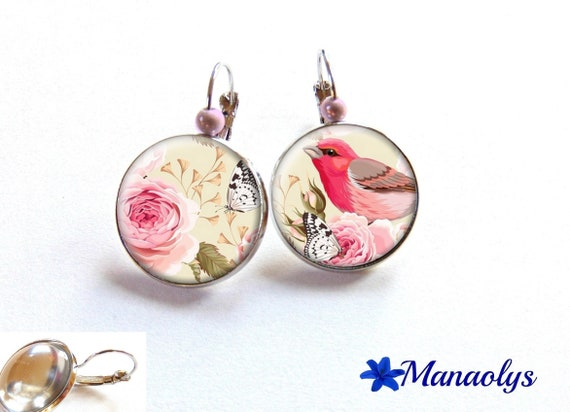 Earrings sleepers pink birds and butterflies, 2421 glass cabochons