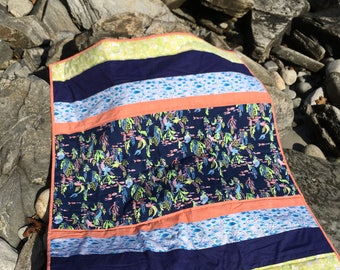Mermaid Quilt, Nautical Quilt, Ocean Quilt, Sea Side Quilt, Kids Quilt, Baby Gift, Baby Blanket,