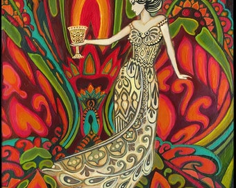 Queen of Cups Psychedelic Gypsy Goddess Tarot Art Original Acrylic Painting Pagan Mythology Psychedelic Bohemian Goddess Art