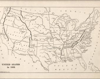 Poster, Many Sizes Available; Map Of United States Of America In 1861