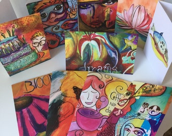 Buy 8 GET 2 FREE Assorted PaperLove Creative Co Blank Greeting Cards all original artwork set