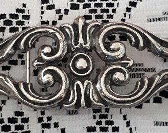 gorgeous antique belt buckle art deco inlaid stone 17 x 5.5 CM metal silvery old haberdashery shop