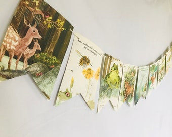 Renee Bartkowski's My Home Vintage Story Book Pages Bunting Pennants Nursery Decor Baby Shower Birthday Party Garland Flags