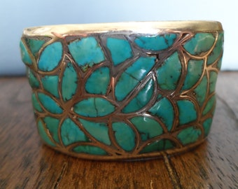 Vintage Zuni Bracelet, Turquoise and Sterling Silver Fish Scale Inlay Cuff Bracelet