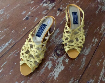 The Vintage J. Renee Yellow Macrame Open Toed Kitten Heels