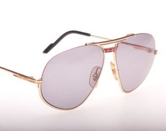Ferrari F6 Vintage luxury golden half rimmed aviator sunglasses with red enamel and thread rim details