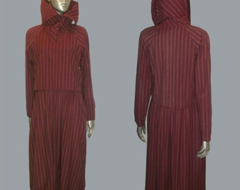 Vintage Adini Avante Garde Cotton Multicolor Vertical Diagonal Stripe Buttoned Multifunctional High Collar Raglan Sleeve Overlay Dress